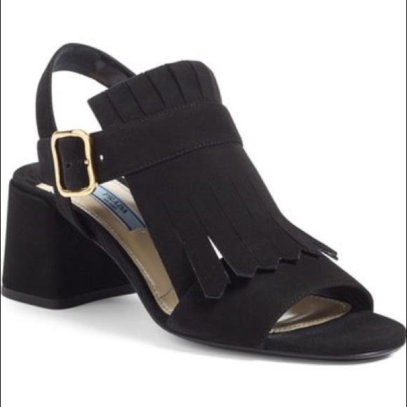 ab596cd48ac6 Prada fringe block heel sandals. M 5b06c67e61ca10c45d508906